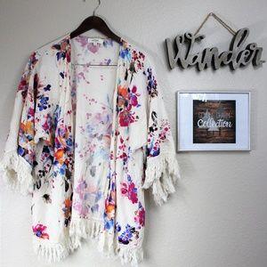 Umgee Floral Kimono with Tassles